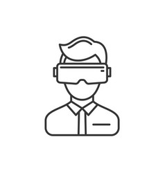 virtual reality headset icon on white background vector image