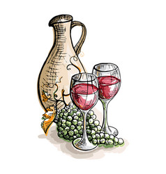 watercolor jug glasses of wine and grapes vector image