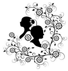 wedding silhouette 10 vector image