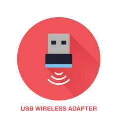 Wireless usb adapter flat style icon wifi vector