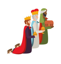 Wise kings down on my knees manger characters vector