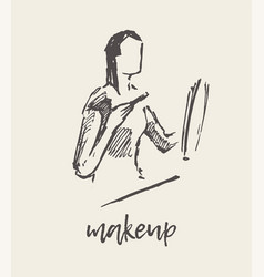 woman applying makeup hand drawn sketch vector image