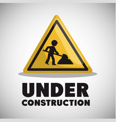 Worker under construction place vector