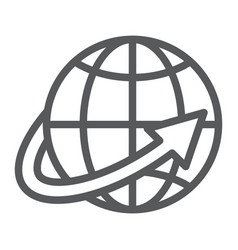 worldwide shipping line icon world and vector image