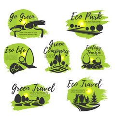 eco green isolated icon set for ecology design vector image