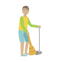 guy with broom and duster sweeping the floor vector image vector image