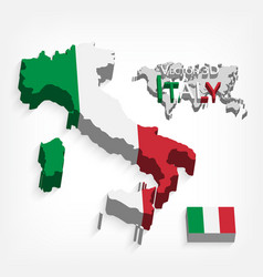 italy 3d flag and map vector image