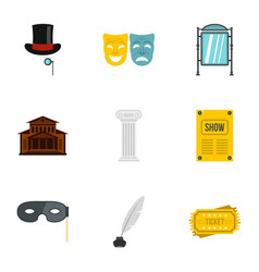 theatre icons set flat style vector image