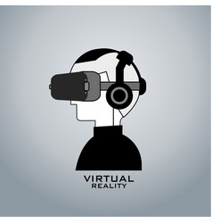 virtual reality headset icon flat line design vector image vector image