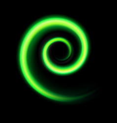 An abstract green swirl on black vector