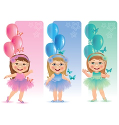 Beautiful banner with cute little girl vector image