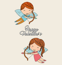happy valentines cute girl and cupid with bow vector image