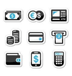 Money atm cash machine icons set vector image vector image