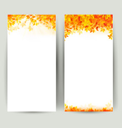 set of two nature banners with autumn leaves vector image