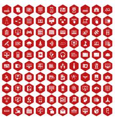 100 database and cloud icons hexagon red vector image vector image
