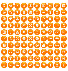 100 tension icons set orange vector image