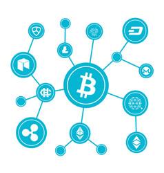 blockchain blocks with cryptocurrency symbols vector image