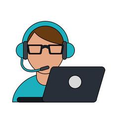 color image cartoon half body man customer service vector image vector image