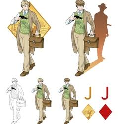 Jack of diamonds boy with a gun Mafia card set vector image vector image