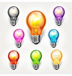 light bulb color set vector image