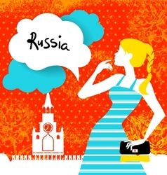 Stylish background with woman silhouette in Russia vector image vector image