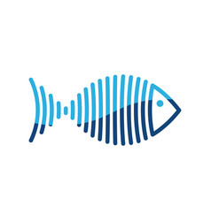 stylized blue fish is lines logo vector image vector image