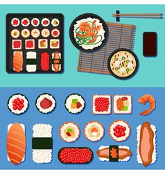 Sushi Set with Different Rolls Soup and Rice vector image vector image