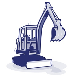 a blue digger machinery vector image vector image