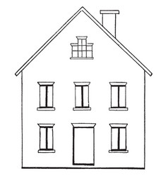 Drawing a house 1 materials layouts vintage vector
