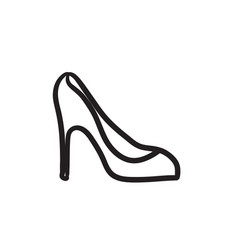 Heel shoe sketch icon vector