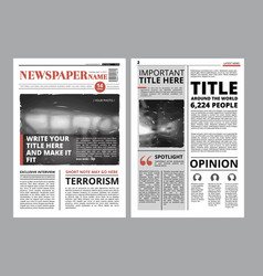 newspaper front page with several columns and vector image