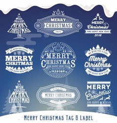 Set of Christmas decoration typography tag and lab vector image vector image