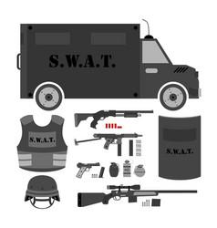 set of swat police gear swat bus shield helmet vector image