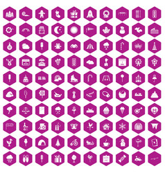 100 childrens parties icons hexagon violet vector