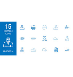 15 uniform icons vector