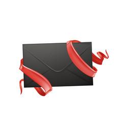 3d envelope ribbon valentine day card vector image