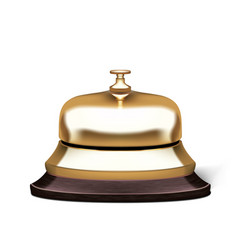 3d realistic golden service hotel reception bell vector