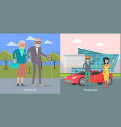 Aged people walking in park young couple near car vector