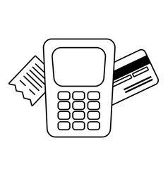 Banking dataphone operation service black and vector