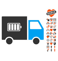Battery delivery truck icon with love bonus vector
