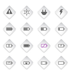 battery energy icons vector image