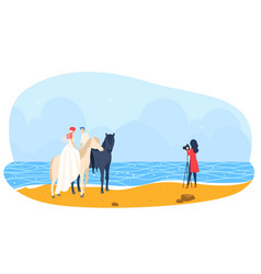 Beach wedding horse together people photographer vector