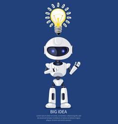 Big idea robot and bulb poster vector