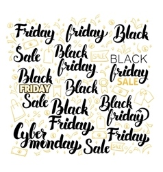 Black friday lettering design set vector