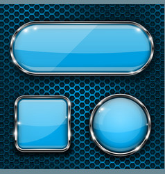 Blue glass buttons on metal perforated background vector