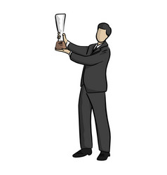 business man raising his trophy with two hands vector image