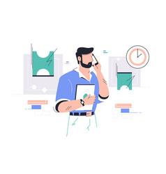 Businessman talking on mobile phone vector