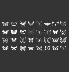 butterfly icon set grey vector image