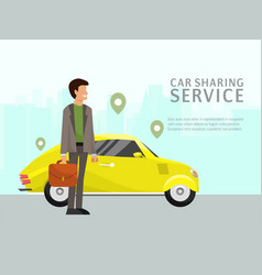 car sharing landing page online transportation vector image