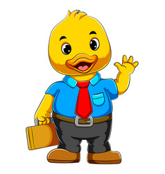 Cartoon business duck in full suit and holding vector